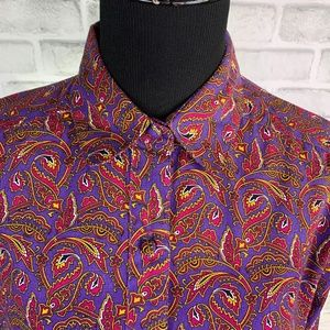Vintage John Henry Paisley Button Up Collared Top